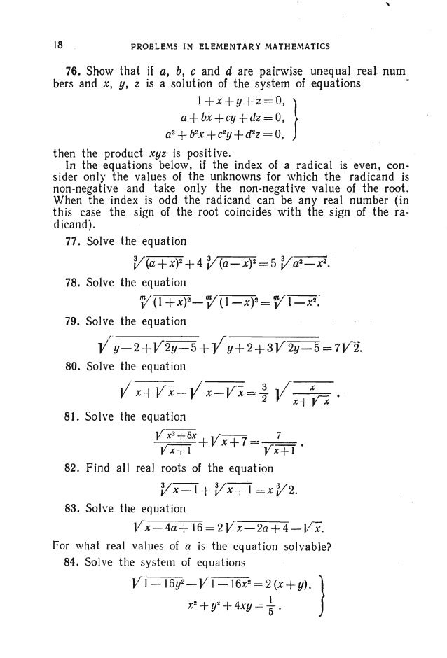 PROBLEMS, ALGEBRA 21 implies that if the discriminant of the trinomial satisfies the condition D=b2-4ac < 0 (in this case ...