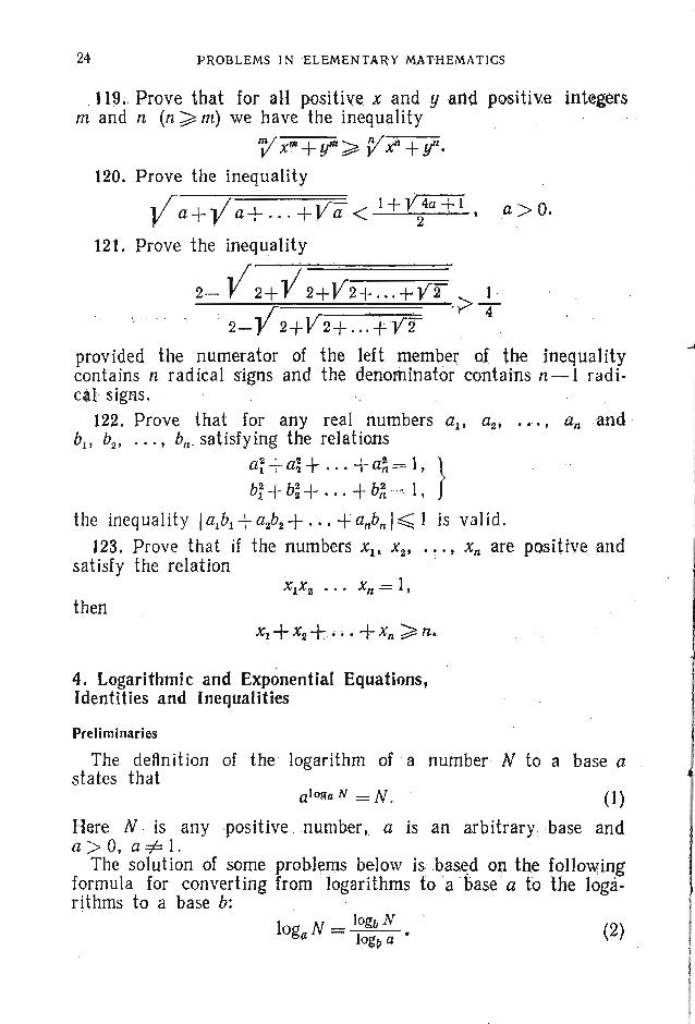 PROBLEMS. ALGEBRA 144. Solve the system of equations log12 x (loL2+ log2Y)= log2 x, } logz X logs(x + y) = 3 log, x. 145. ...