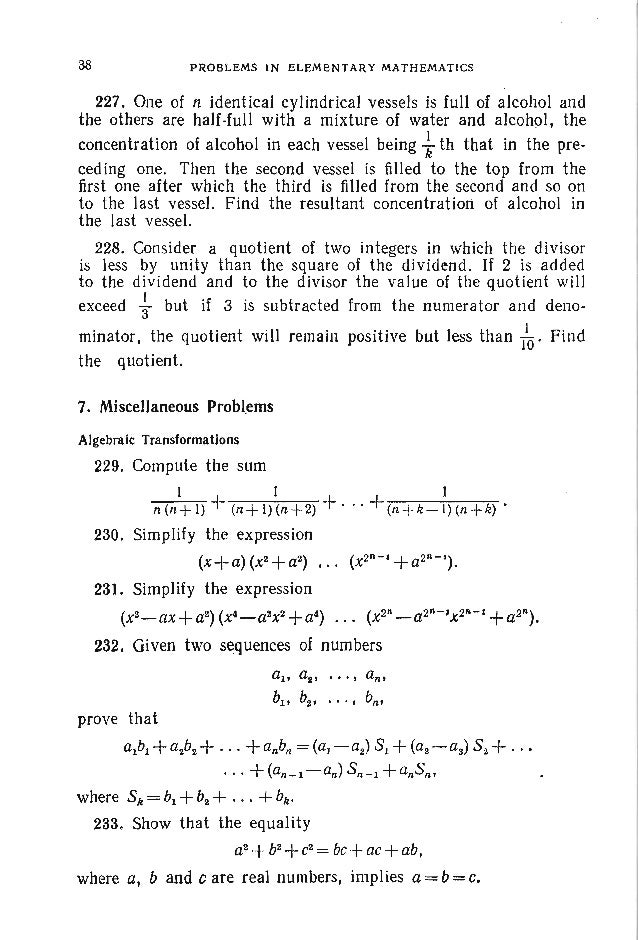 PROBLEMS ALG EBRA 41 251. It is known that Xl ' X2 and xa are the roots of the equation x3 _ x2 _ 1= 0. Form a new equatio...