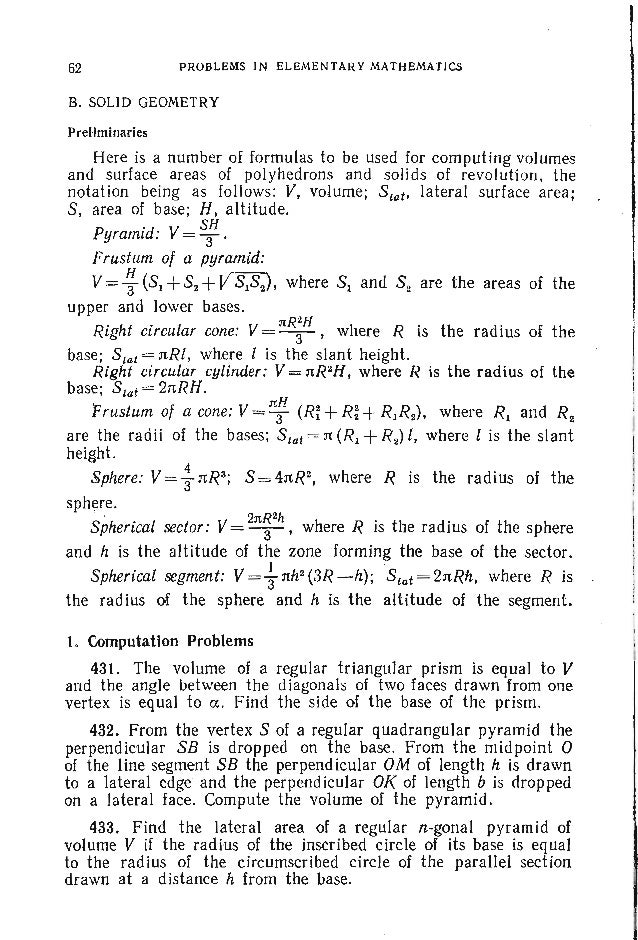 PROBLEMS. SOLID GEOMETRY 65 area of this projection to the area of the section of the cube by the plane passing through th...