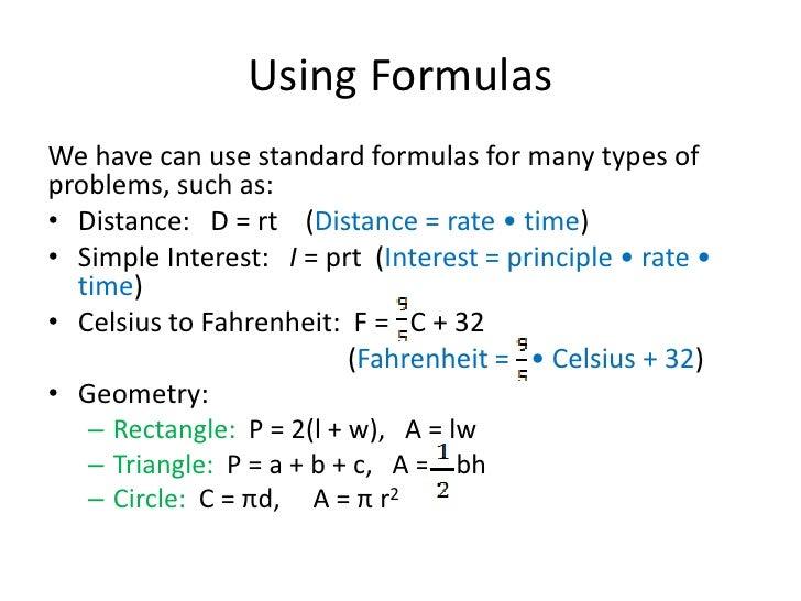 Problems Involving Formulas