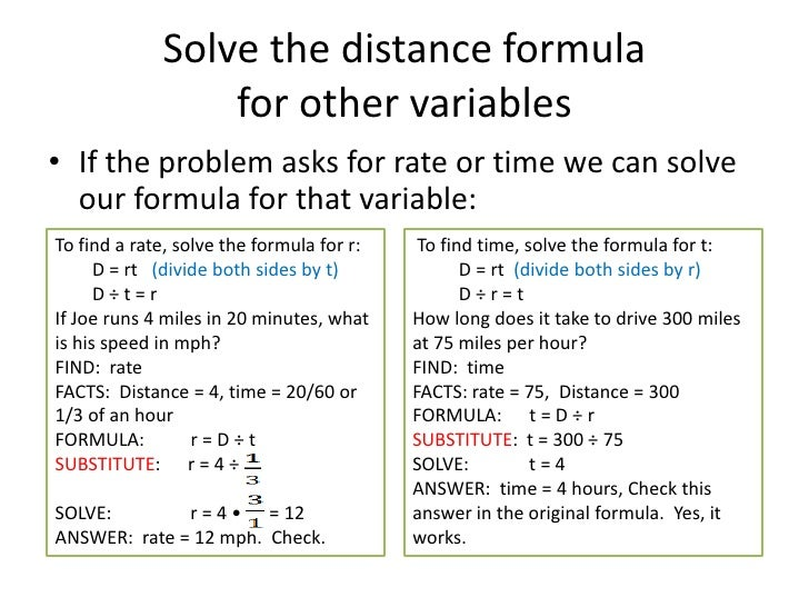 formulas and problem solving
