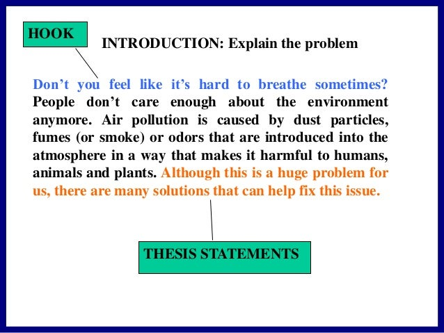 air pollution essay introduction Introduction the earth's atmosphere, at or near sea level, consists approximately of 78 percent nitrogen, 21 percent oxygen and 1 percent other gases.