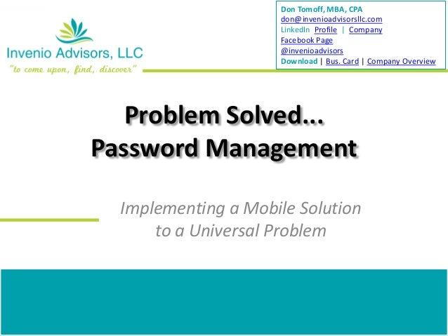 Don Tomoff, MBA, CPA                     don@invenioadvisorsllc.com                     LinkedIn Profile | Company        ...