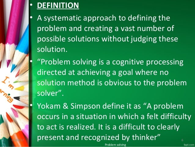 definition of problem solving method