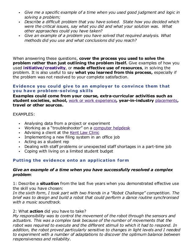 problem solving skills resume examples