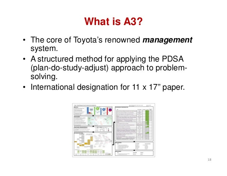 What is A3?• The core of Toyota's renowned management  system.• A structured method for applying the PDSA  (plan-do-study-...