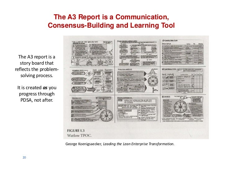 The A3 Report is a Communication,                Consensus-Building and Learning Tool  The A3 report is a    story board t...