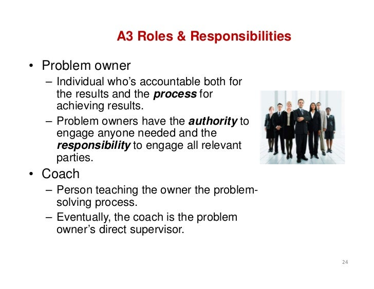 A3 Roles & Responsibilities• Problem owner  – Individual who's accountable both for    the results and the process for    ...