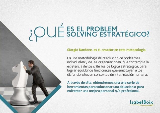 Giorgio Nardone, es el creador de esta metodología. Es una metodología de resolución de problemas individuales y de las or...