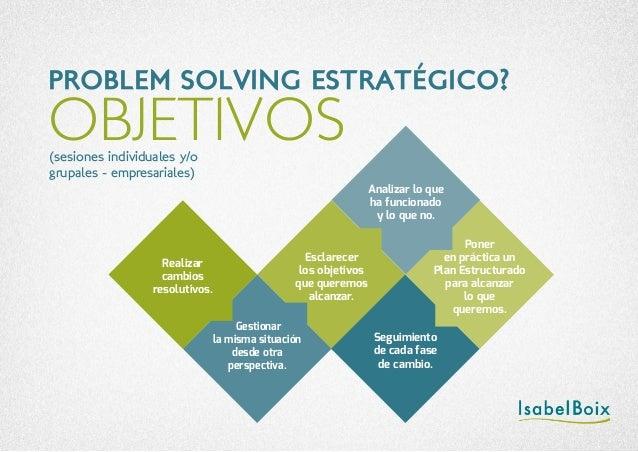 OBJETIVOS PROBLEM SOLVING ESTRATÉGICO? (sesiones individuales y/o grupales - empresariales) Realizar cambios resolutivos. ...