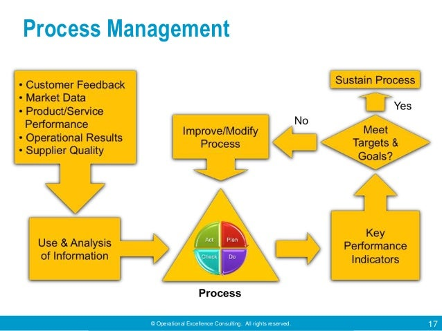 © Operational Excellence Consulting. All rights reserved. 17 Process Management