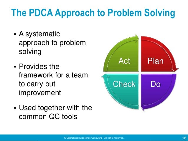 © Operational Excellence Consulting. All rights reserved. 18 The PDCA Approach to Problem Solving • A systematic approach ...