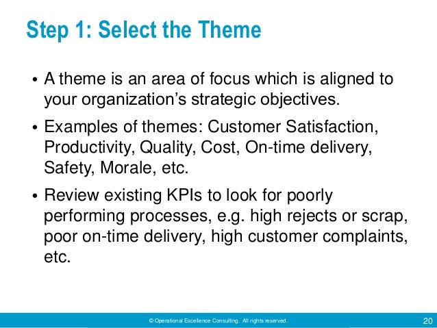© Operational Excellence Consulting. All rights reserved. 20 Step 1: Select the Theme • A theme is an area of focus which ...