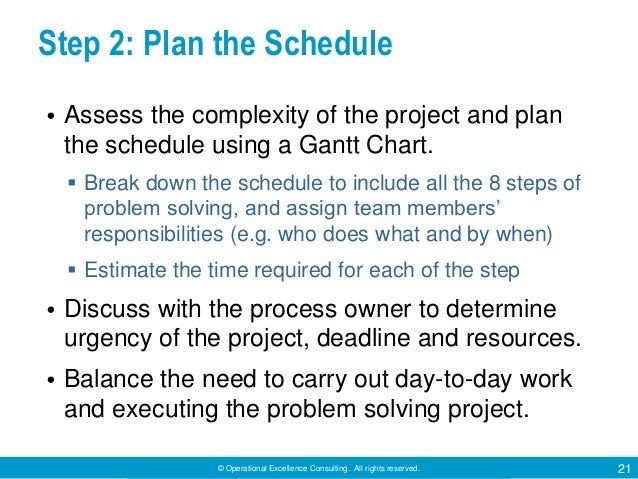 © Operational Excellence Consulting. All rights reserved. 21 Step 2: Plan the Schedule • Assess the complexity of the proj...