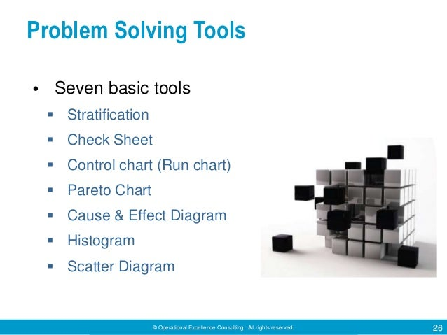 © Operational Excellence Consulting. All rights reserved. 26 Problem Solving Tools • Seven basic tools  Stratification  ...