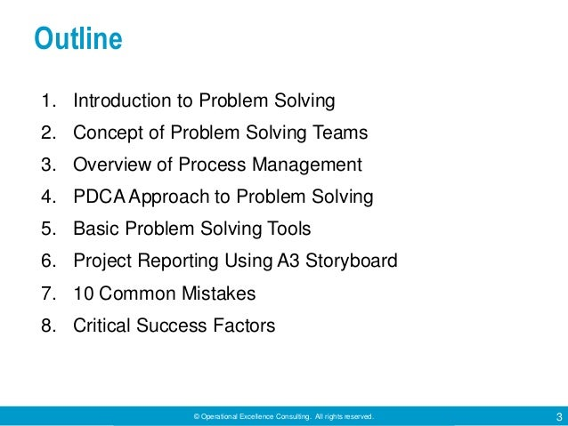 © Operational Excellence Consulting. All rights reserved. 3 Outline 1. Introduction to Problem Solving 2. Concept of Probl...