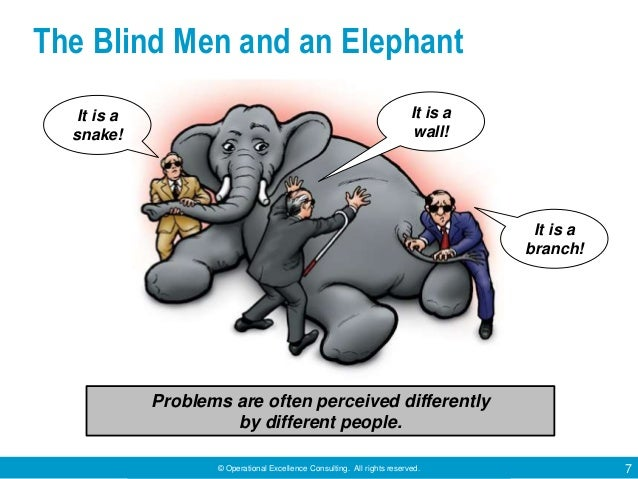 © Operational Excellence Consulting. All rights reserved. 7 The Blind Men and an Elephant Problems are often perceived dif...