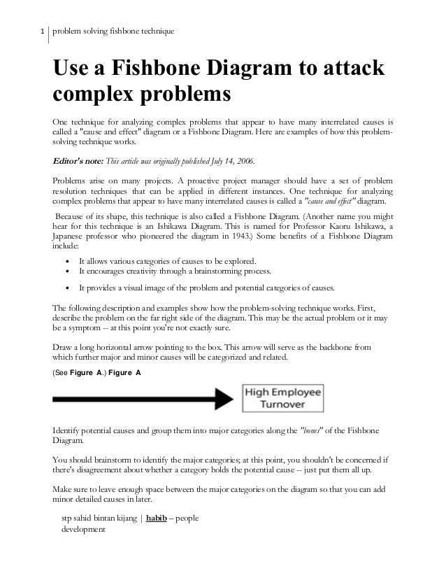Problem Solving Use A Fishbone Diagram