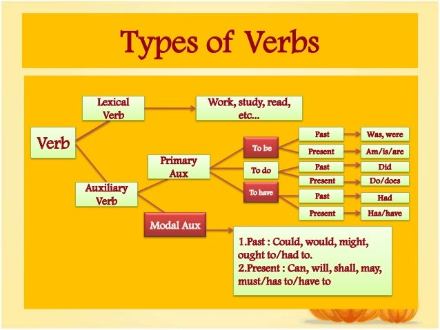 Different types (kinds) of verbs in English grammar