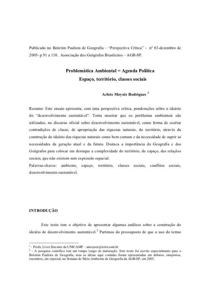"""Publicado no Boletim Paulista de Geografia – """"Perspectiva Crítica"""" - nº 83-dezembro de2005- p.91 a 110. Associação dos Geó..."""