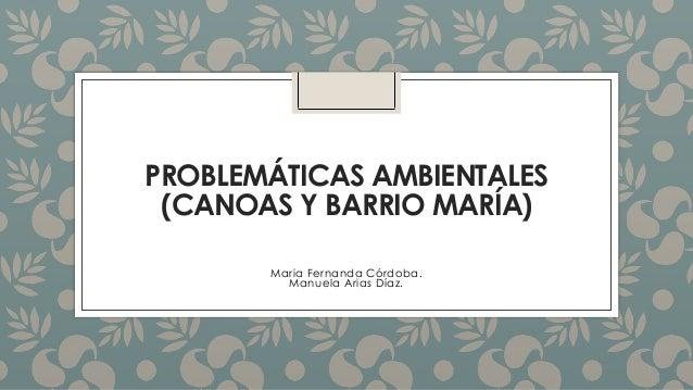 PROBLEMÁTICAS AMBIENTALES (CANOAS Y BARRIO MARÍA) Maria Fernanda Córdoba. Manuela Arias Díaz.