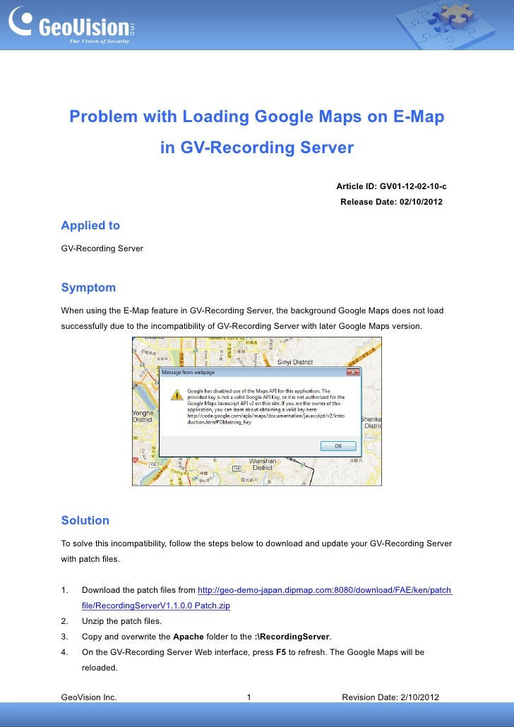 Problem with Loading Google Maps on E-Map                           in GV-Recording Server                                ...