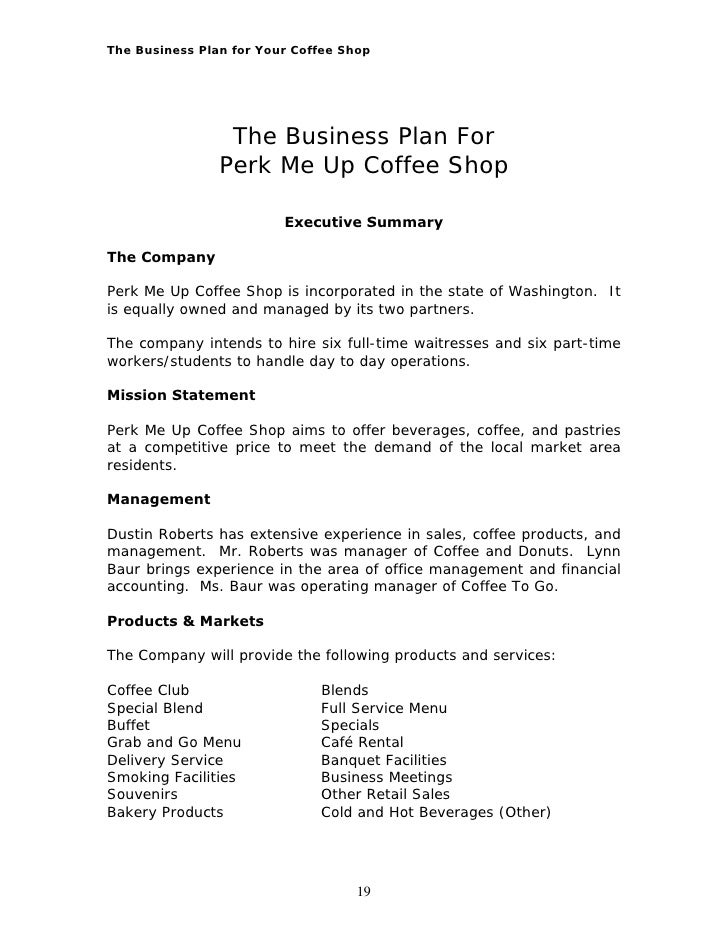 coffee shop business plan financials