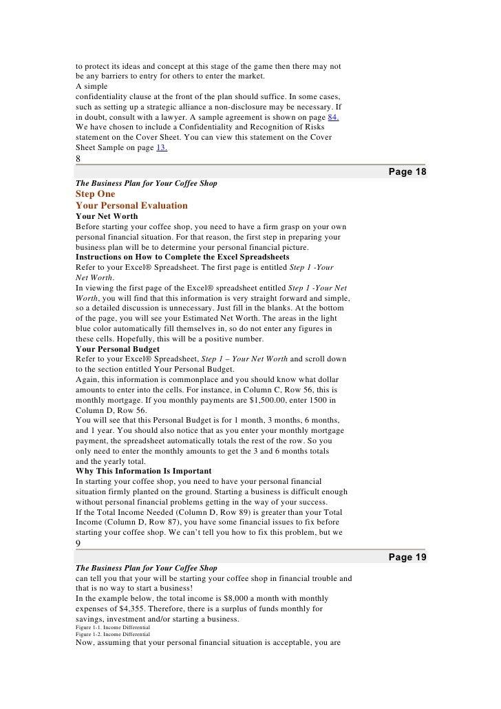 coffee shop business plan pdf