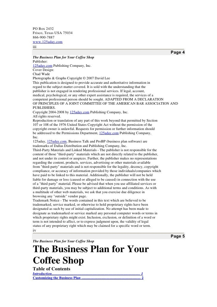 business plan report for coffee shop