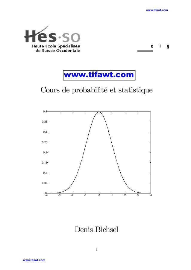 www.tifawt.com  www.tifawt.com  Cours de probabilité et statistique 0.4  0.35  0.3  0.25  0.2  0.15  0.1  0.05  0 -4  -3  ...