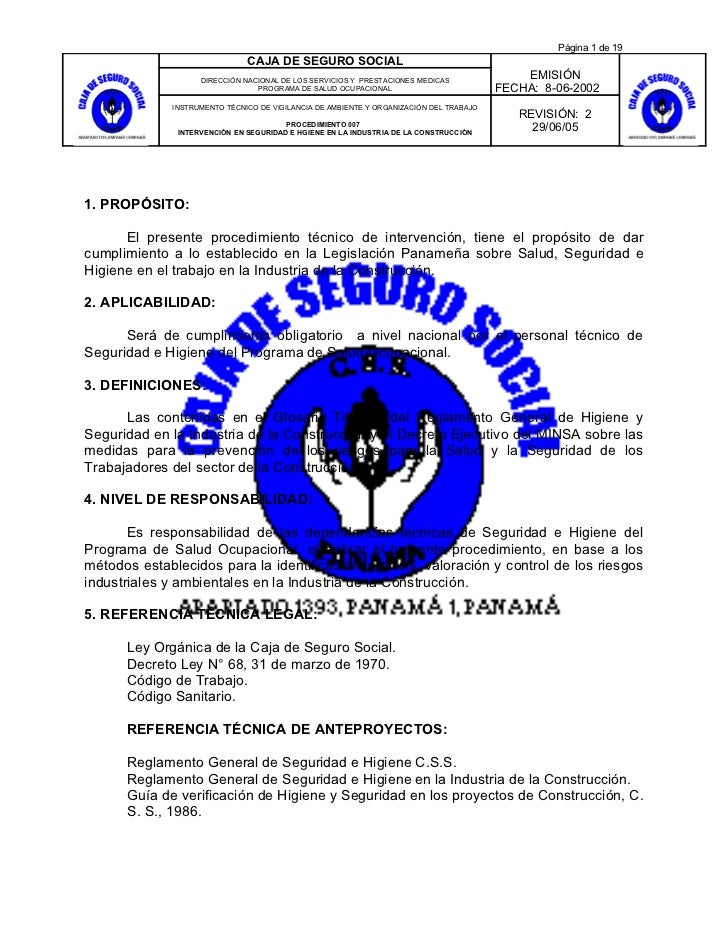 Página 1 de 19                               CAJA DE SEGURO SOCIAL                    DIRECCIÓN NACIONAL DE LOS SERVICIOS ...