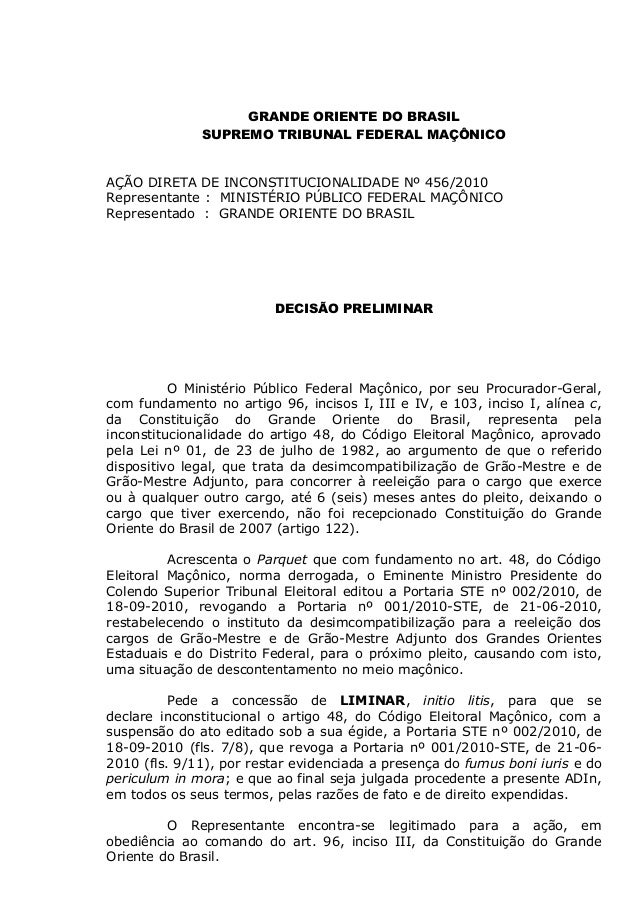GRANDE ORIENTE DO BRASIL SUPREMO TRIBUNAL FEDERAL MAÇÔNICO AÇÃO DIRETA DE INCONSTITUCIONALIDADE Nº 456/2010 Representante ...