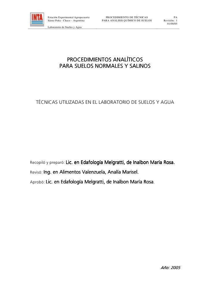 Estación Experimental Agropecuaria     PROCEDIMIENTO DE TÉCNICAS                PA        Sáenz Peña - Chaco – Argentina  ...