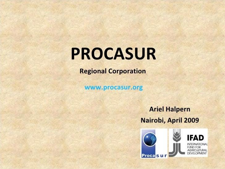 PROCASUR Regional Corporation  www.procasur.org Ariel Halpern Nairobi, April 2009