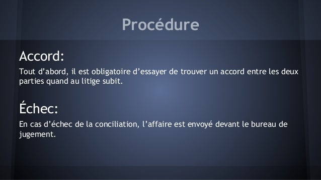 Procedure - Convocation devant le bureau de conciliation ...