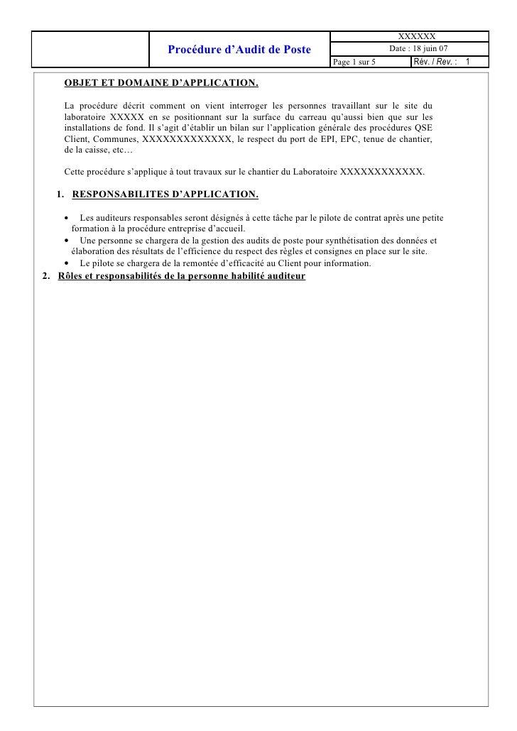 XXXXXX                               Procédure d'Audit de Poste                                 Date : 18 juin 07         ...