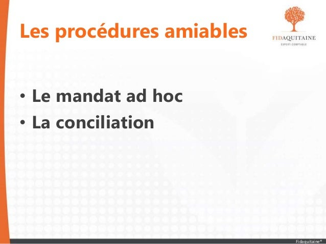 Les procédures amiables • Le mandat ad hoc • La conciliation Fidaquitaine®
