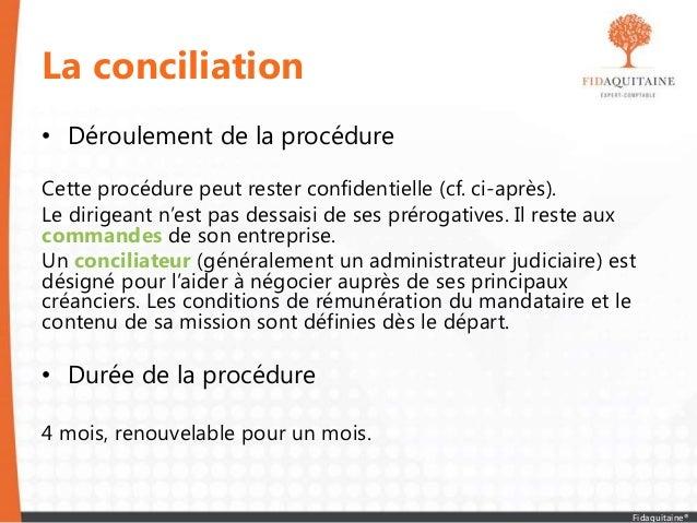 La conciliation • Déroulement de la procédure Cette procédure peut rester confidentielle (cf. ci-après). Le dirigeant n'es...