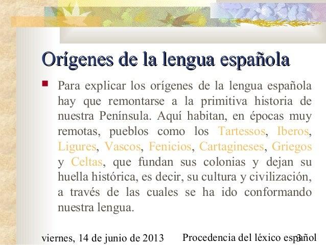 Procedencia de las palabras españolas