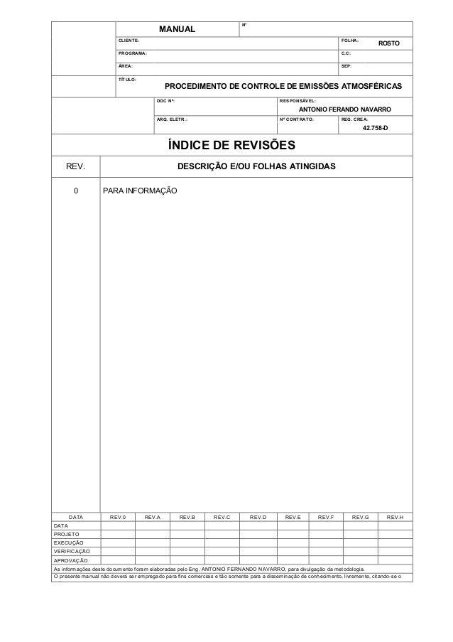 N°  MANUAL CLIENTE:  FOLHA:  PROGRAMA:  C.C:  ÁREA:  SEP:  ROSTO  TÍTULO:  PROCEDIMENTO DE CONTROLE DE EMISSÕES ATMOSFÉRIC...
