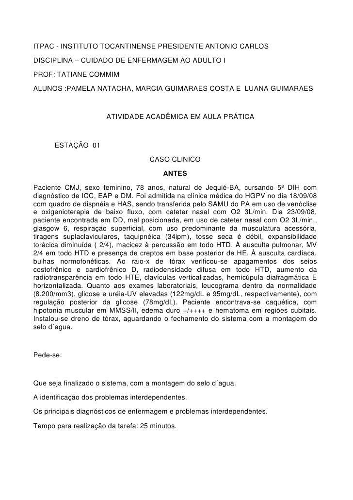 ITPAC - INSTITUTO TOCANTINENSE PRESIDENTE ANTONIO CARLOSDISCIPLINA – CUIDADO DE ENFERMAGEM AO ADULTO IPROF: TATIANE COMMIM...