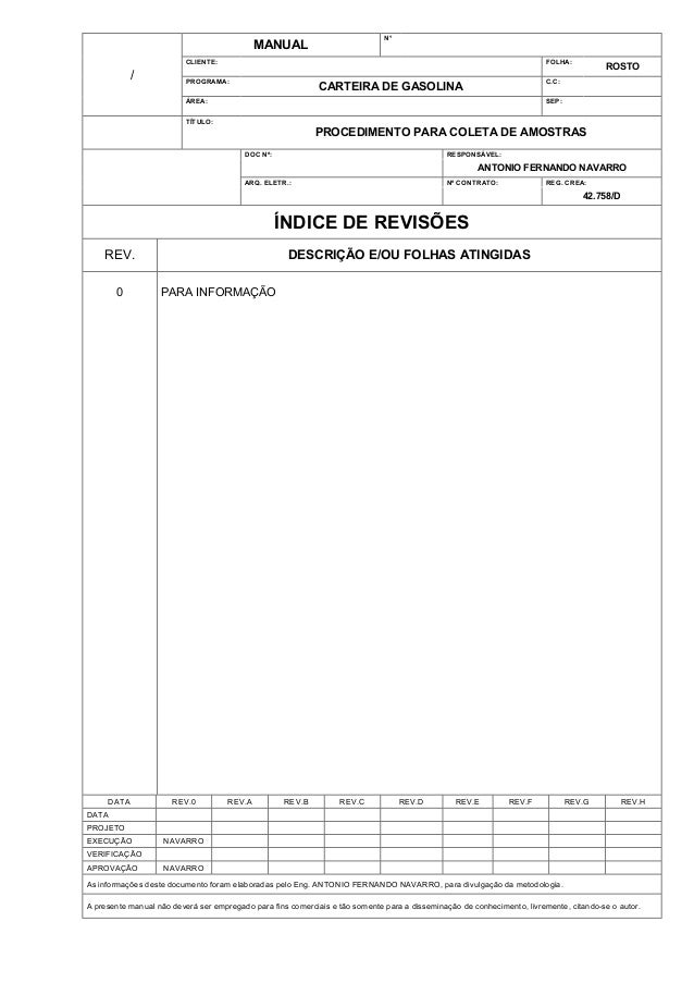 N°  MANUAL CLIENTE:  /  FOLHA:  PROGRAMA:  ROSTO  C.C:  CARTEIRA DE GASOLINA  ÁREA:  SEP:  TÍTULO:  PROCEDIMENTO PARA COLE...