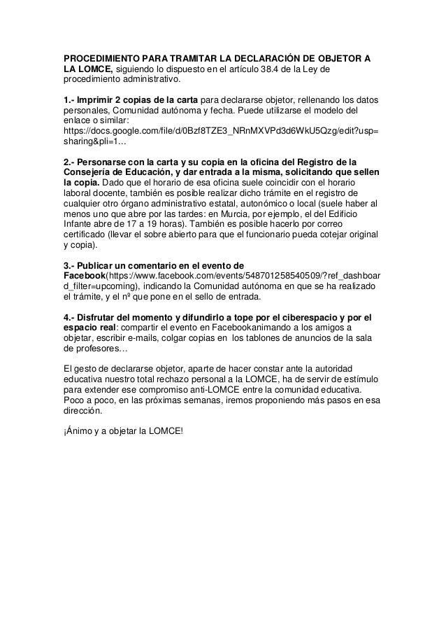PROCEDIMIENTO PARA TRAMITAR LA DECLARACIÓN DE OBJETOR A LA LOMCE, siguiendo lo dispuesto en el artículo 38.4 de la Ley de ...