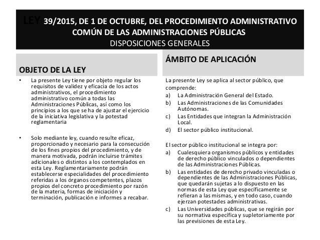 OBJETO DE LA LEY ÁMBITO DE APLICACIÓN LEY 39/2015, DE 1 DE OCTUBRE, DEL PROCEDIMIENTO ADMINISTRATIVO COMÚN DE LAS ADMINIST...