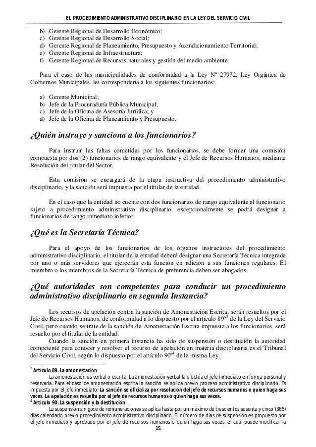EL PROCEDIMIENTO ADMINISTRATIVO DISCIPLINARIO EN LA LEY DEL SERVICIO CIVIL  b) Gerente Regional de Desarrollo Económico;  ...