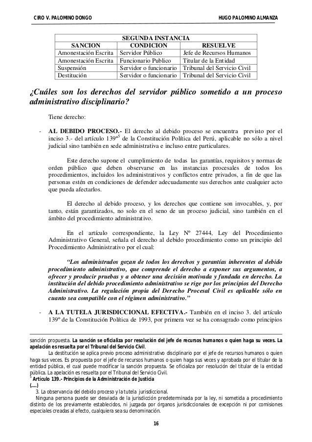 CIRO V. PALOMINO DONGO HUGO PALOMINO ALMANZA  SEGUNDA INSTANCIA  SANCION CONDICION RESUELVE  Amonestación Escrita Servidor...
