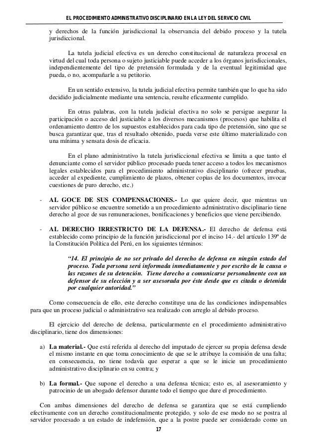 EL PROCEDIMIENTO ADMINISTRATIVO DISCIPLINARIO EN LA LEY DEL SERVICIO CIVIL  y derechos de la función jurisdiccional la obs...