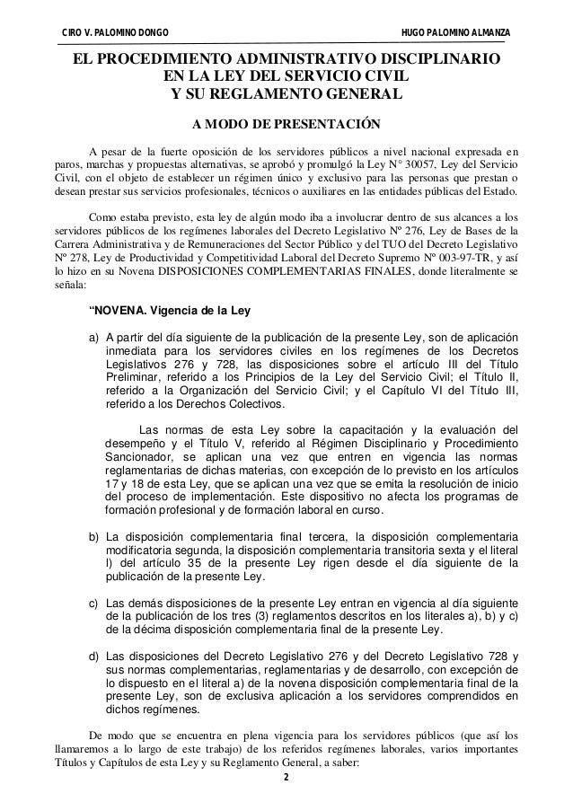 CIRO V. PALOMINO DONGO HUGO PALOMINO ALMANZA  EL PROCEDIMIENTO ADMINISTRATIVO DISCIPLINARIO  EN LA LEY DEL SERVICIO CIVIL ...