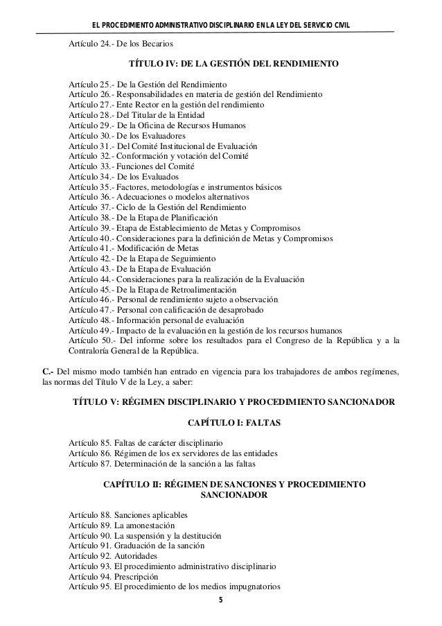 EL PROCEDIMIENTO ADMINISTRATIVO DISCIPLINARIO EN LA LEY DEL SERVICIO CIVIL  5  Artículo 24.- De los Becarios  TÍTULO IV: D...